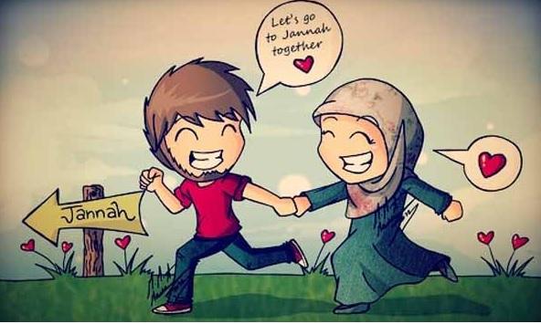 Hasil gambar untuk gambar kartun cinta suami istri muslim