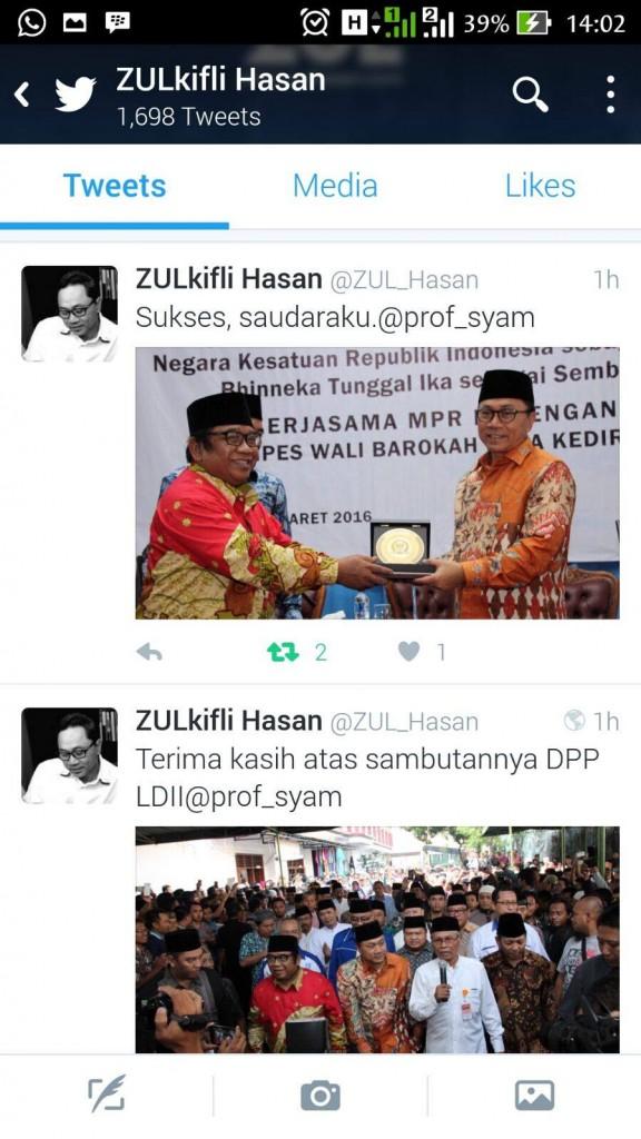 Tweet Ketua MPR RI Setelah Mengunjungi Khataman Syaroh Asmaul Husna LDII di Kediri